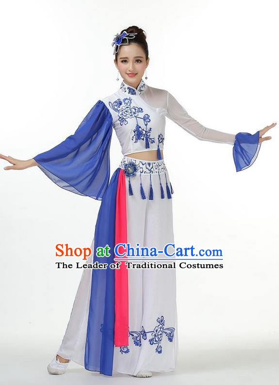 Traditional Chinese Yangge Fan Dancing Costume, Folk Dance Yangko Mandarin Collar Peony Painting Tassel Uniforms, Classic Lotus Dance Elegant Big Swing Dress Drum Dance Clothing for Women