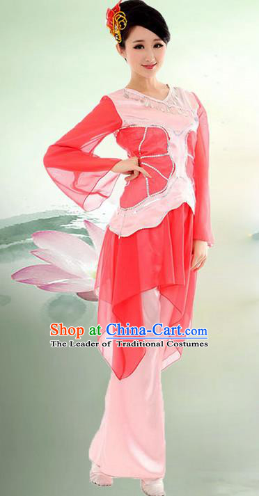 Traditional Chinese Yangge Fan Dancing Costume, Folk Dance Yangko Mandarin Sleeve Blouse and Pants Uniforms, Classic Umbrella Dance Elegant Dress Drum Dance Red Clothing for Women