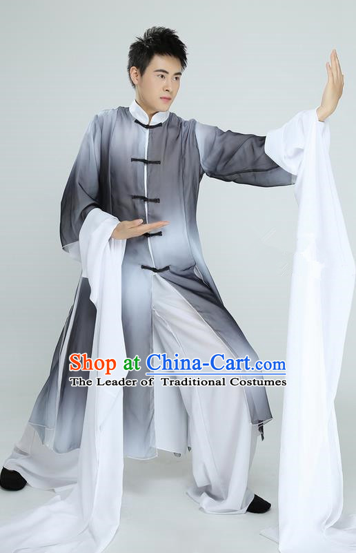 Traditional Chinese Ancient Costume, Folk Dance Kung fu Uniforms, Classic Dance Martial Art Elegant Clothing for Men