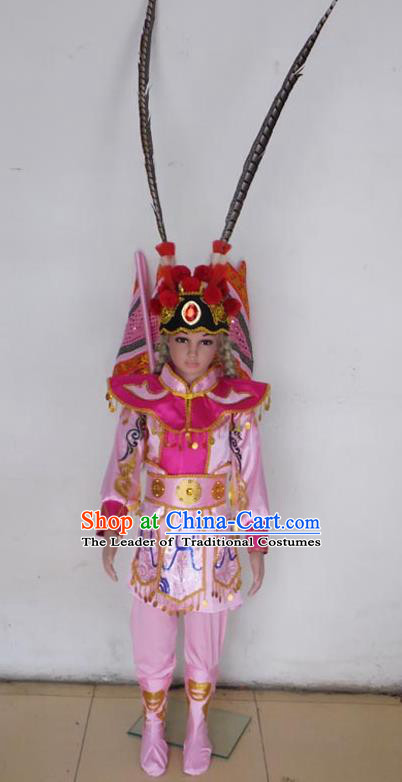 Traditional Chinese Peking Opera KnifeHorseDawn Costume and Hat Complete Set, Chinese Swordsman Children Uniforms, Classic Dance Elegant Dress Drum Dance Pink Clothing for Kids