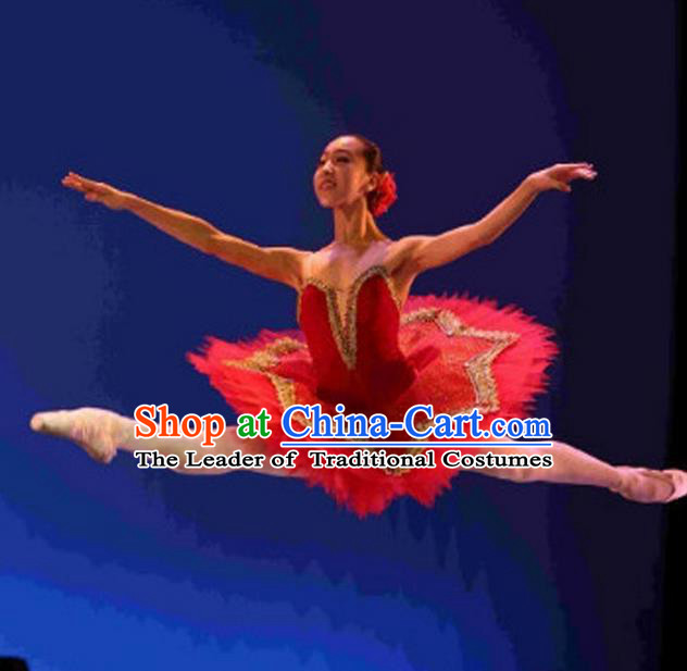 Traditional Modern Dancing Compere Costume, Opening Classic Chorus Singing Group Dance Bubble Dress Tu Tu Dancewear, Modern Dance Classic Ballet Dance Red Dress for Women