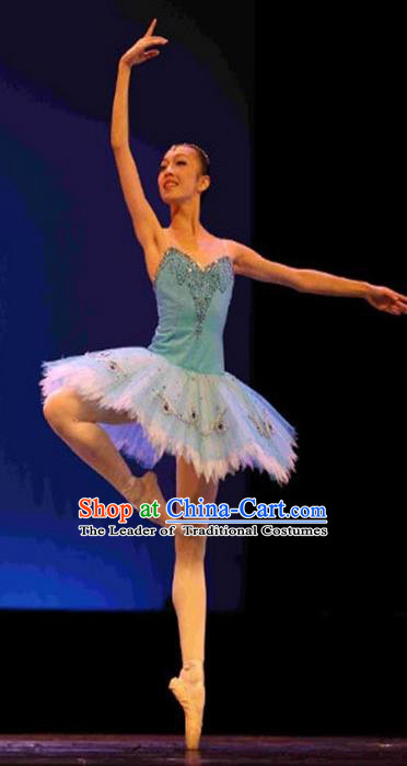 Traditional Modern Dancing Compere Costume, Opening Classic Chorus Singing Group Dance Bubble Dress Tu Tu Dancewear, Modern Tutu Dance Classic Ballet Dance Blue Elegant Veil Dress for Women