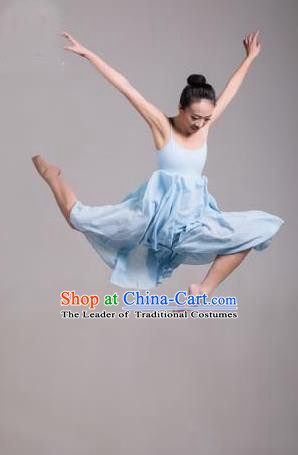 Traditional Modern Dancing Compere Costume, Opening Classic Chorus Singing Group Dance Dress Tu Tu Dancewear, Modern Dance Classic Ballet Dance Elegant Blue Dress for Women