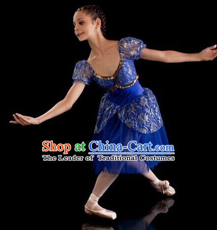 Traditional Modern Dancing Compere Costume, Female Opening Classic Chorus Singing Group Dance Bubble Dress Tu Tu Dancewear, Modern Dance Classic Ballet Dance Blue Veil Dress for Women