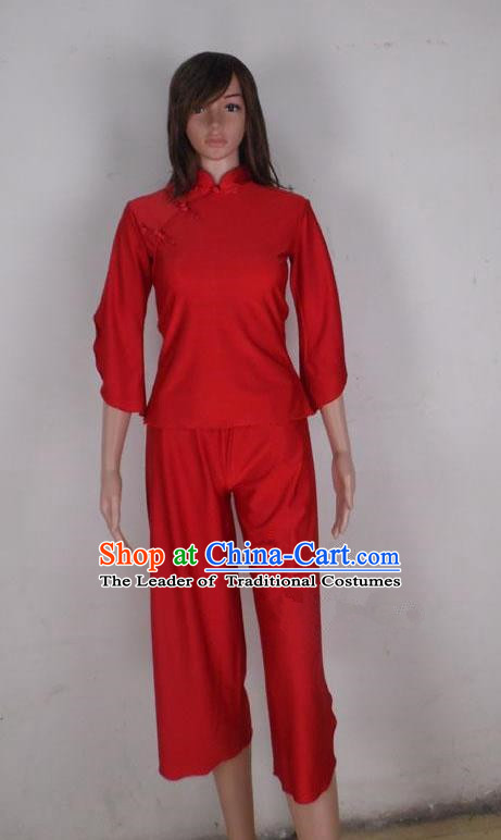 Traditional Chinese Yangge Fan Dancing Costume, Folk Dance Yangko Mandarin Collar Red Blouse and Pants Uniforms, Classic Lotus Dance Elegant Dress Drum Dance Clothing for Women