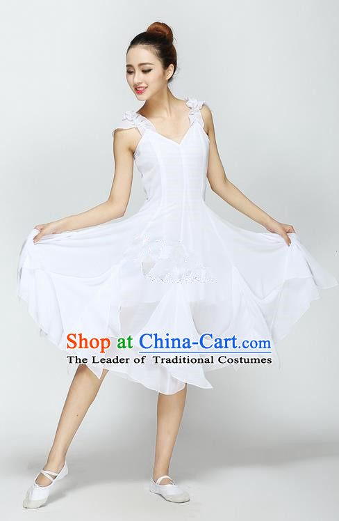 Traditional Chinese Yangge Fan Dancing Costume, Folk Dance Yangko Uniforms, Classic Modern Dance Big Swing White Dress Elegant Drum Dance Clothing for Women