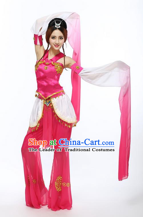 Traditional Chinese Ancient Yangge Fan Dancing Costume, Folk Dance Water Sleeve Uniforms, Classic Ancient Chang e Flying Moon Dance Elegant Fairy Dress Drum Palace Dance Red Clothing for Women