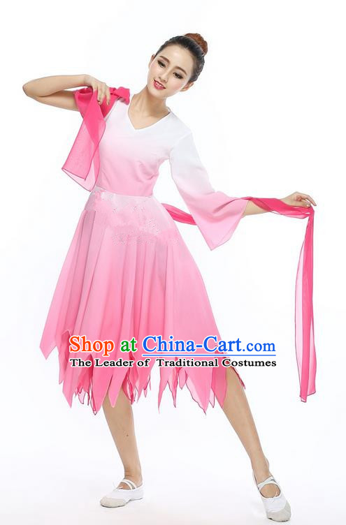 Traditional Chinese Yangge Fan Dancing Costume, Folk Dance Yangko Uniforms, Classic Jasmine Flower Dance Big Swing Pink Dress Elegant Drum Dance Clothing for Women