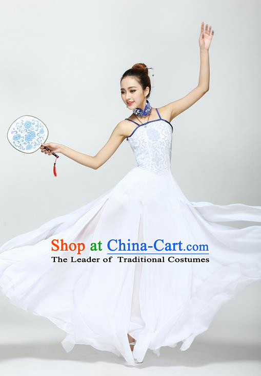 Traditional Chinese Yangge Fan Dancing Costume, Folk Dance Yangko Uniforms, Classic Jasmine Flower Fan Dance Dress Elegant Drum Dance Clothing for Women
