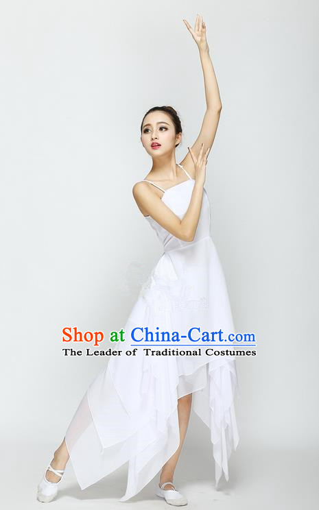 Traditional Modern Dancing Compere Costume, Female Opening Classic Chorus Singing Group Dance White Ballet Dancewear, Modern Dance Big Swing Dress Classic Latin Dance Elegant Clothing for Women