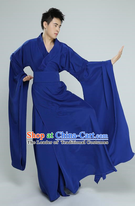 Traditional Chinese Ancient Wide Sleeve Costume, Folk Dance Drun Dance Kung fu Performance Blue Dress Uniforms, Classic Dance Martial Art Elegant Clothing for Men