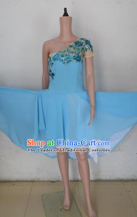 Traditional Modern Dancing Costume, Female Opening Classic Chorus Singing Group Dance Blue Big Swing Dress Performance Dancewear, Modern Dance Dress Classic Ballet Dance Elegant Clothing for Women