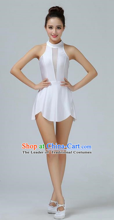 Traditional Modern Dancing Costume Opening Clic Chorus Singing Group Dance Dress Ballet White Short For Women