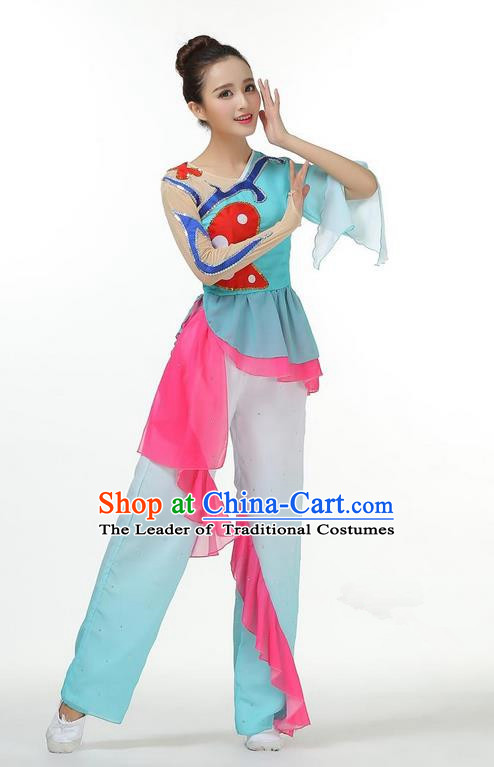 Traditional Chinese Yangge Fan Dancing Costume, Folk Dance Yangko Mandarin Sleeve Blouse and Pants Butterfly Uniforms, Classic Lotus Dance Elegant Dress Drum Dance Clothing for Women