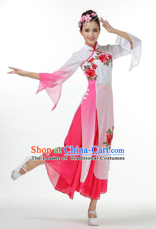 Traditional Chinese Yangge Fan Dancing Costume, Folk Dance Yangko Mandarin Sleeve Dress and Pants Peony Uniforms, Classic Umbrella Dance Elegant Dress Drum Dance Pink Clothing for Women