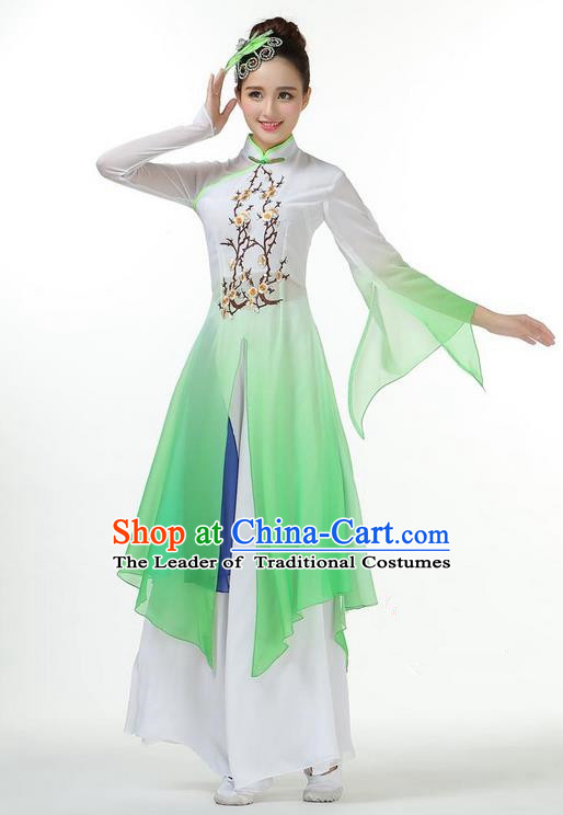Traditional Chinese Yangge Fan Dancing Costume, Folk Dance Yangko Mandarin Sleeve Dress and Pants Plum Blossom Uniforms, Classic Umbrella Dance Elegant Dress Drum Dance Green Clothing for Women
