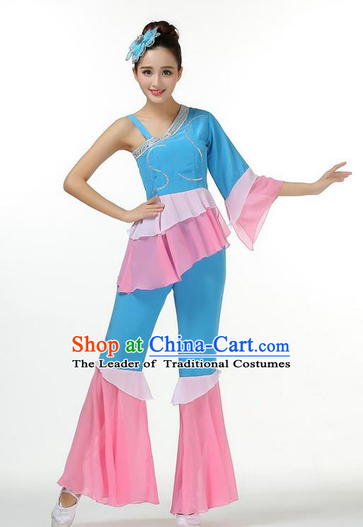 Traditional Chinese Yangge Fan Dancing Costume, Folk Dance Yangko Mandarin Sleeve Blouse and Pants Uniforms, Classic Umbrella Dance Elegant Dress Drum Dance Blue Clothing for Women