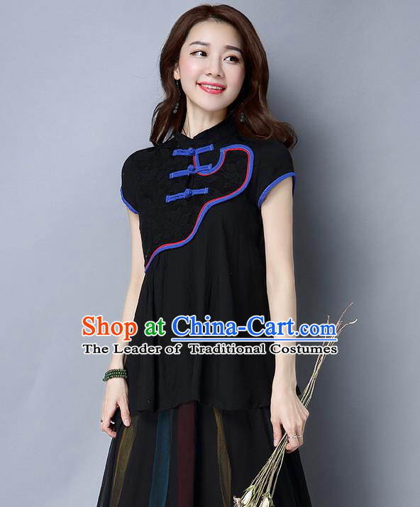Traditional Ancient Chinese National Costume, Elegant Hanfu Shirt, China Tang Suit Mandarin Collar Black Blouse Upper Outer Garment Clothing for Women