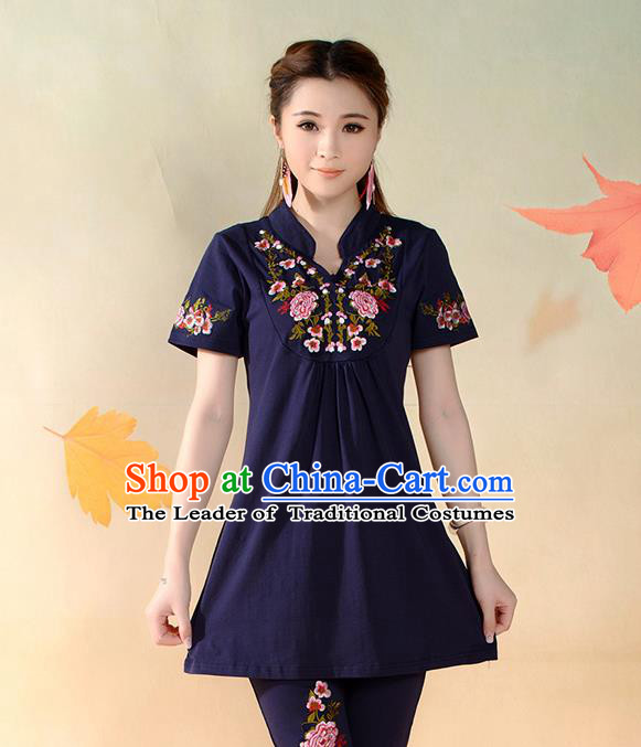 Traditional Ancient Chinese National Costume, Elegant Hanfu T-Shirt, China Tang Suit Mandarin Collar Navy Blouse Cheongsam Upper Outer Garment Clothing for Women