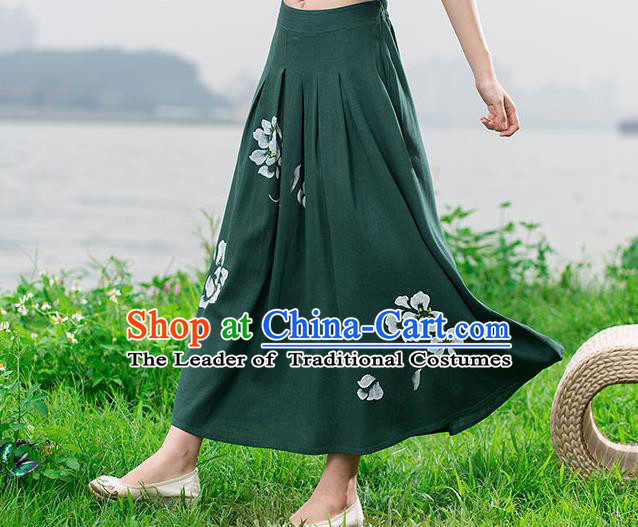 Traditional Ancient Chinese National Skirt Costume, Elegant Hanfu Painting Peony Long Dress, China Tang Suit Cotton Green Bust Skirt for Women