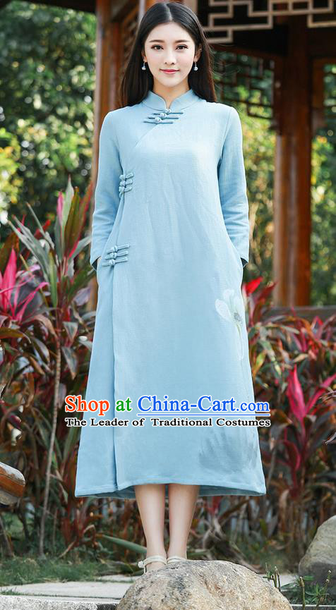 Traditional Ancient Chinese National Costume, Elegant Hanfu Hand Printing Linen Dress, China Tang Suit Cheongsam Upper Outer Garment Blue Elegant Dress Clothing for Women