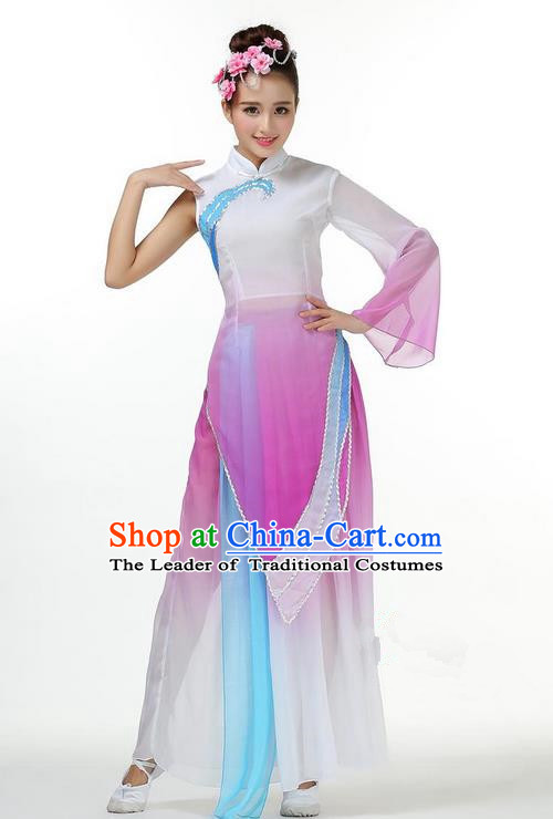Traditional Chinese Yangge Fan Dancing Costume, Folk Dance Yangko Mandarin Sleeve Dress and Pants Single Shoulder Sleeve Uniforms, Classic Umbrella Lotus Dance Elegant Dress Drum Dance Purple Clothing for Women