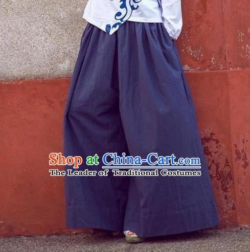 Traditional Ancient Chinese National Costume Loose Pants, Elegant Hanfu Pants, China Tang Suit Linen Navy Wide Leg Pants for Women