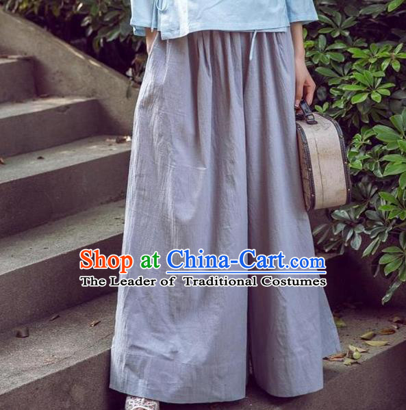 Traditional Ancient Chinese National Costume Loose Pants, Elegant Hanfu Pants, China Tang Suit Linen Grey Wide Leg Pants for Women
