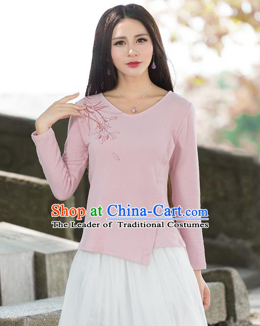 Traditional Ancient Chinese National Costume, Elegant Hanfu T-Shirt, China Tang Suit Round Collar Pink Base Blouse Cheongsam Upper Outer Garment Clothing for Women