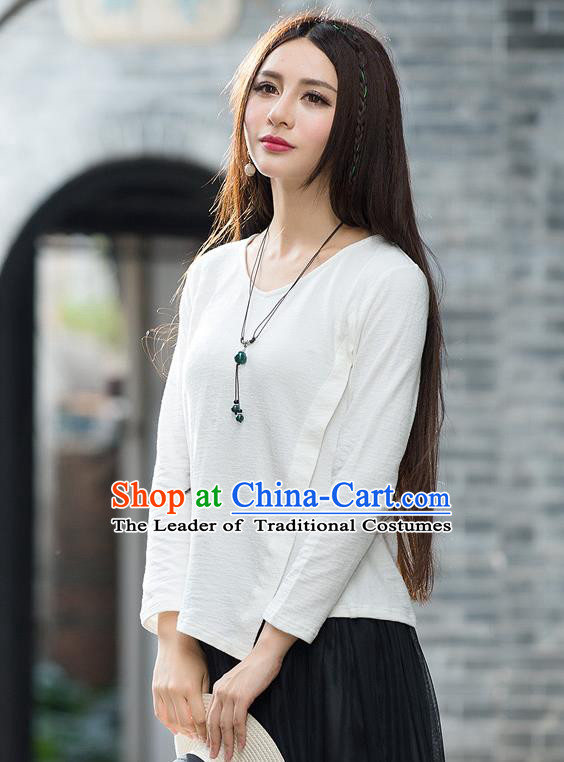Traditional Ancient Chinese National Costume, Elegant Hanfu T-Shirt, China Tang Suit Round Collar White Base Blouse Cheongsam Upper Outer Garment Clothing for Women