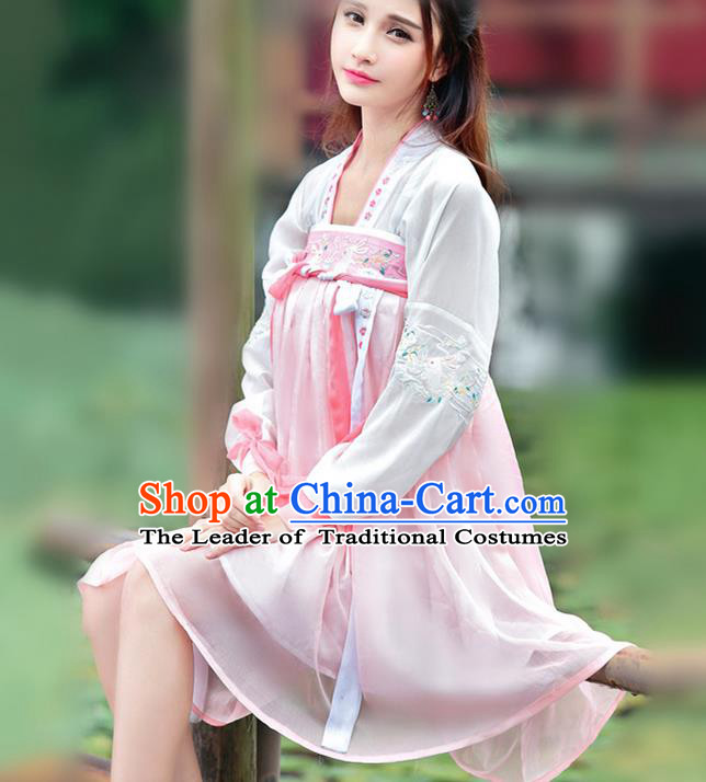 Traditional Ancient Chinese Ancient Costume, Elegant Hanfu Clothing Embroidered Pink Dress, China Tang Dynasty Blouse and Skirt Complete Set for Women