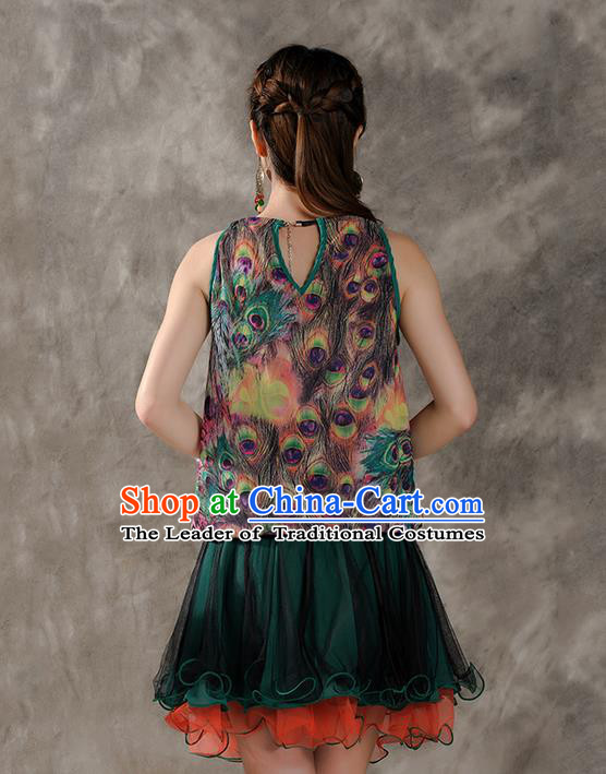 Traditional Ancient Chinese National Costume, Elegant Hanfu Halter Camisole, China Tang Suit Chiffon Waistcoat Cheongsam Upper Outer Garment Clothing for Women