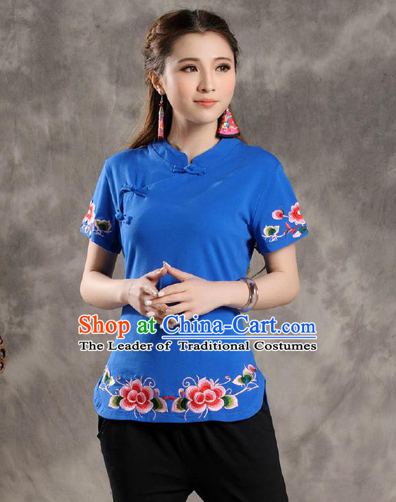 Traditional Ancient Chinese National Costume, Elegant Hanfu Shirt, China Tang Suit Embroidered Blue Blouse Cheongsam Upper Outer Garment Clothing for Women