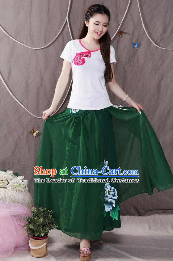 Traditional Ancient Chinese National Pleated Skirt Costume, Elegant Hanfu Printing Peony Big Swing Long Dress, China Tang Suit Cotton Green Bust Skirt for Women