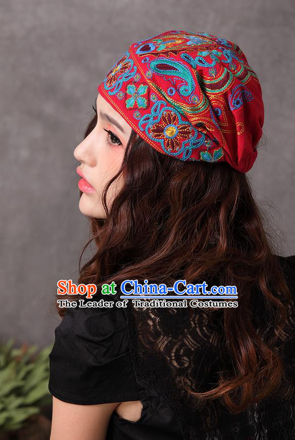 Traditional Chinese National Embroidered Crafts Headgear, China National Minority Handmade Embroidered Red Hat for Women