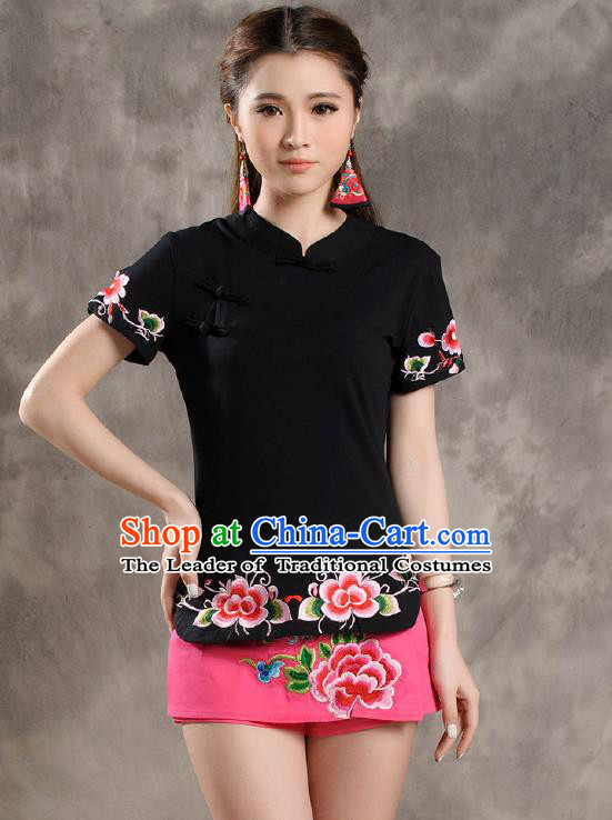 Traditional Ancient Chinese National Costume, Elegant Hanfu Shirt, China Tang Suit Embroidered Black Blouse Cheongsam Upper Outer Garment Clothing for Women
