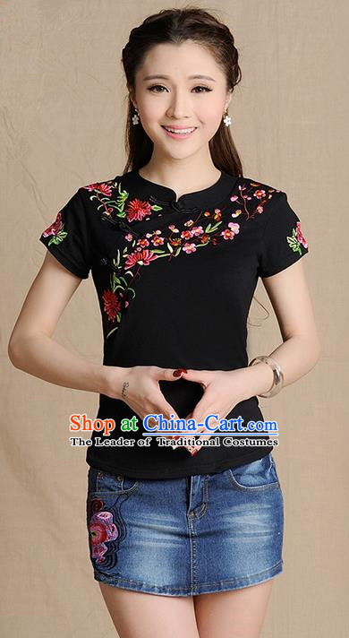Traditional Ancient Chinese National Costume, Elegant Hanfu Shirt, China Tang Suit Embroidered Peach Blossom Black Blouse Cheongsam Upper Outer Garment Clothing for Women