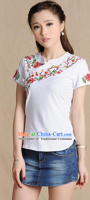 Traditional Ancient Chinese National Costume, Elegant Hanfu Shirt, China Tang Suit Embroidered Peach Blossom White Blouse Cheongsam Upper Outer Garment Clothing for Women