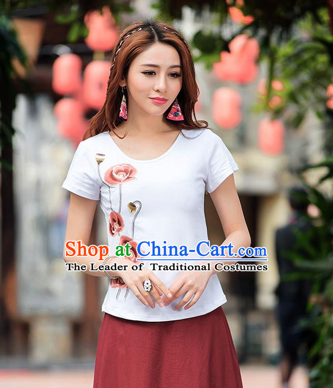 Traditional Ancient Chinese National Costume, Elegant Hanfu T-Shirt, China Tang Suit White Embroidered Blouse Cheongsam Upper Outer Garment Shirt Clothing for Women