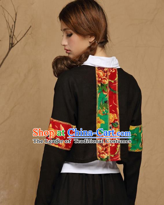 Traditional Ancient Chinese National Costume, Elegant Hanfu Coat, China Tang Suit Stand Collar Coat, Upper Outer Garment Embroidered Black Jacket Clothing for Women