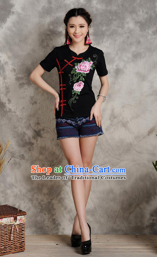 Traditional Ancient Chinese National Costume, Elegant Hanfu Plated Buttons T-Shirt, China Tang Suit Embroidered Peony Black Blouse Cheongsam Upper Outer Garment Shirts Clothing for Women