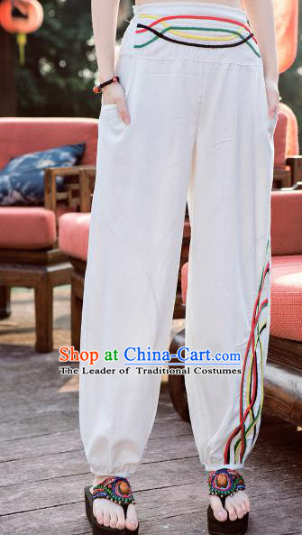Traditional Ancient Chinese National Costume Plus Fours, Elegant Hanfu Embroidered Pants, China Tang Suit Cotton Bloomers White Trousers for Women