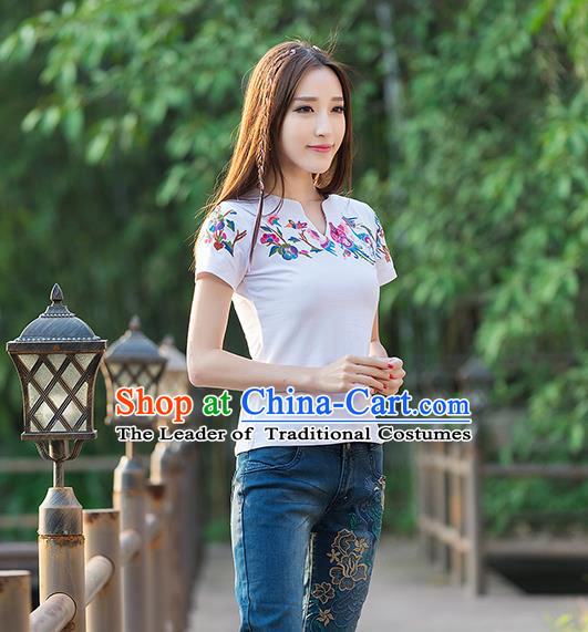 Traditional Ancient Chinese National Costume, Elegant Hanfu Short Sleeve T-Shirt, China Tang Suit Embroidered White Blouse Cheongsam Upper Outer Garment Shirts Clothing for Women