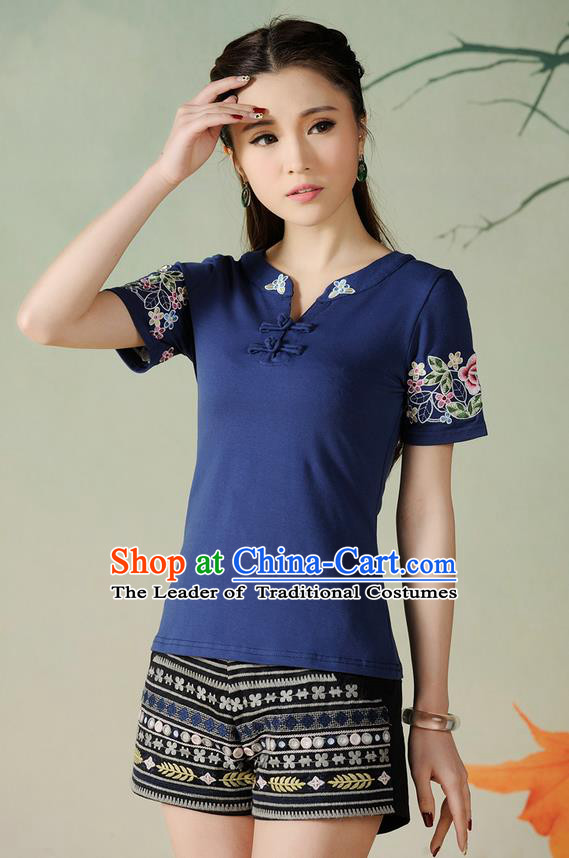 Traditional Ancient Chinese National Costume, Elegant Hanfu Short Sleeve Round Collar T-Shirt, China Tang Suit Embroidered Navy Blouse Cheongsam Upper Outer Garment Shirts Clothing for Women