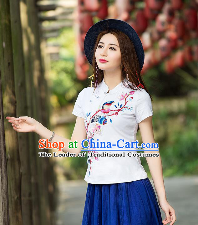 Traditional Ancient Chinese National Costume, Elegant Hanfu Stand Collar T-Shirt, China Tang Suit Embroidered Peach Blossom White Blouse Cheongsam Upper Outer Garment Shirts Clothing for Women