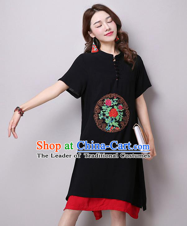 Traditional Ancient Chinese National Costume, Elegant Hanfu Stand Collar Embroidered Flax Dress, China Tang Suit Mandarin Collar Cheongsam Upper Outer Garment Black Dress Clothing for Women