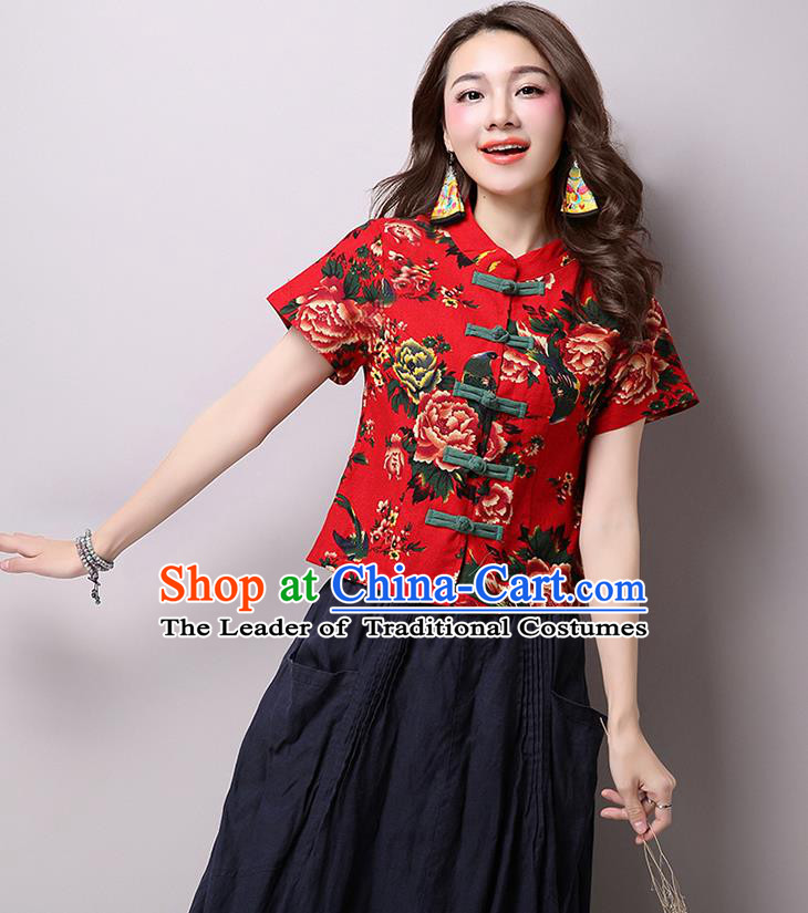 Traditional Ancient Chinese National Costume, Elegant Hanfu Plated Buttons Shirt, China Tang Suit Red Blouse Cheongsam Upper Outer Garment Shirts Clothing for Women