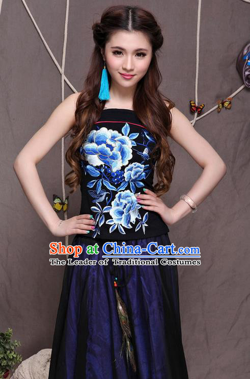 Traditional Ancient Chinese National Costume, Elegant Hanfu Halter Camisole Sleeveless Vests, China National Minority Tang Suit Black Embroidered Blue Peony Waistcoat Upper Outer Garment Clothing for Women