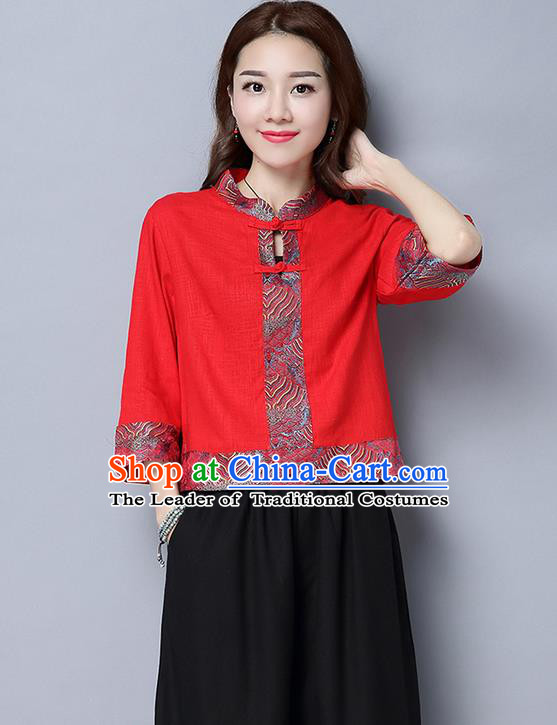 Traditional Ancient Chinese National Costume, Elegant Hanfu Plated Buttons Shirt, China Tang Suit Embroidered Blouse Cheongsam Upper Outer Garment Red Shirts Clothing for Women