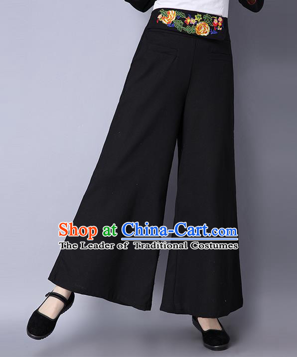 Traditional Ancient Chinese National Costume Loose Pants, Elegant Hanfu Embroidered Belt Pants, China Tang Suit Linen Black Wide Leg Pants for Women